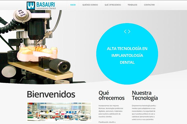 Pantallazo de la página web de Basauri Laboratorio Dental