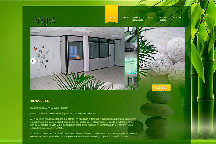 Pantallazo de la página web de Aqyra