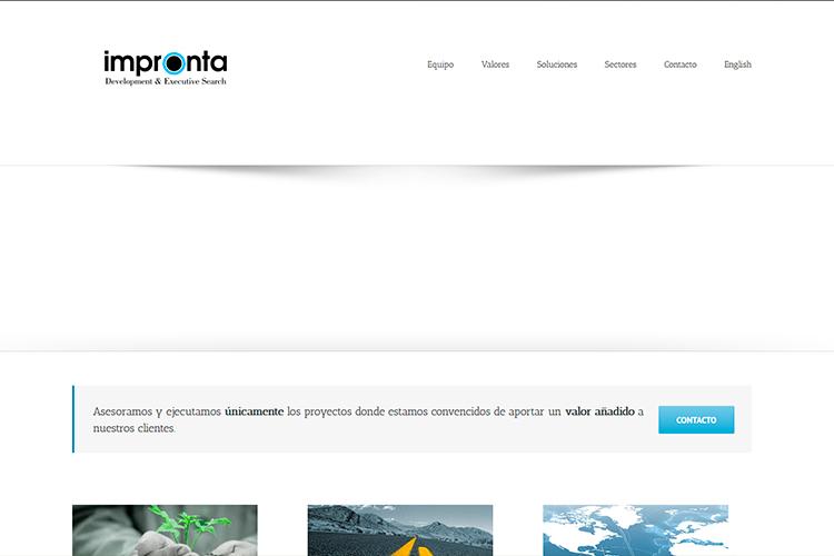 Pantallazo de la web de Impronta Consulting