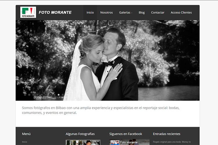 Pantallazo de la página web de Foto Morante