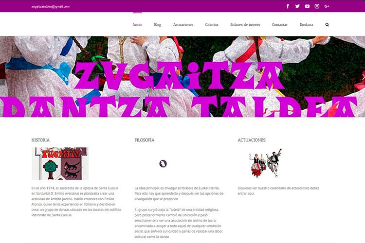 Pantallazo de la página web de Zugaitza Dantza Taldea